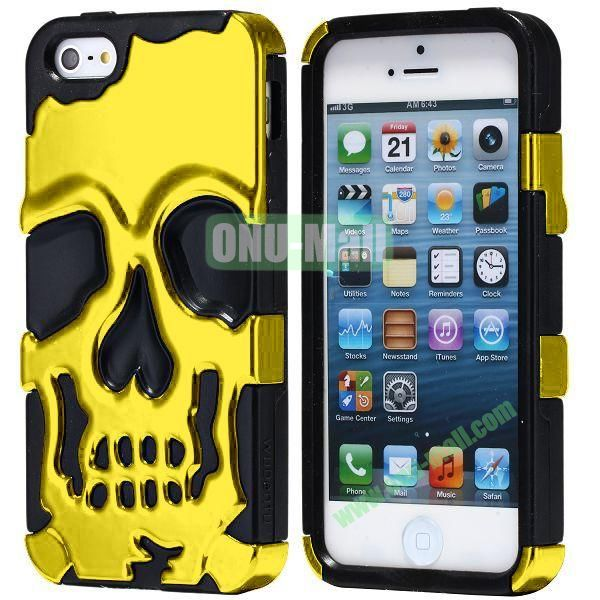 Super Fashional Skull Pattern Soft TPU Case for iPhone 5 5S (Yellow+Black)