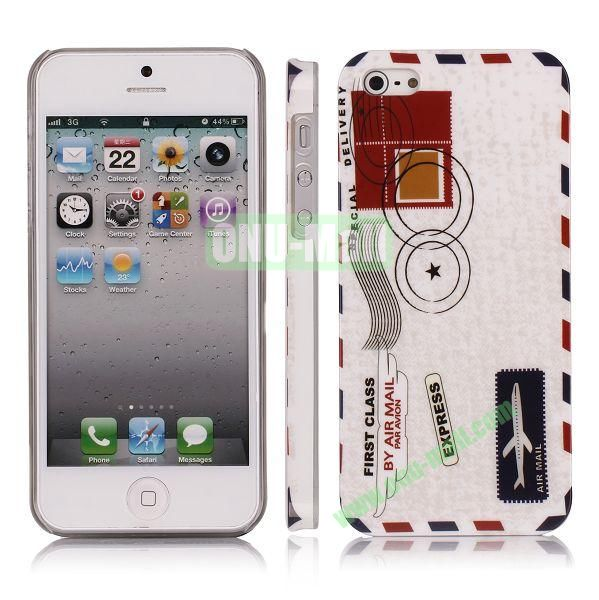 Air Mail Cover Pattern Plastic Hard Case for iPhone 5 5S