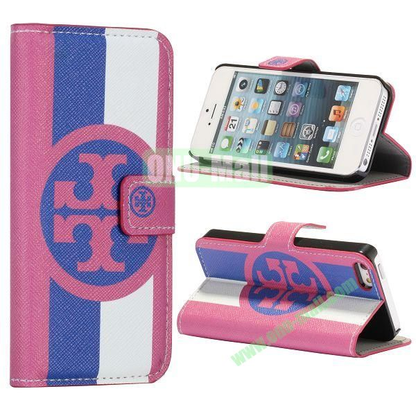 Stripe and Circle Pattern Wallet Stand Side Flip Leather Case for iPhone 5 5S with Card Slot