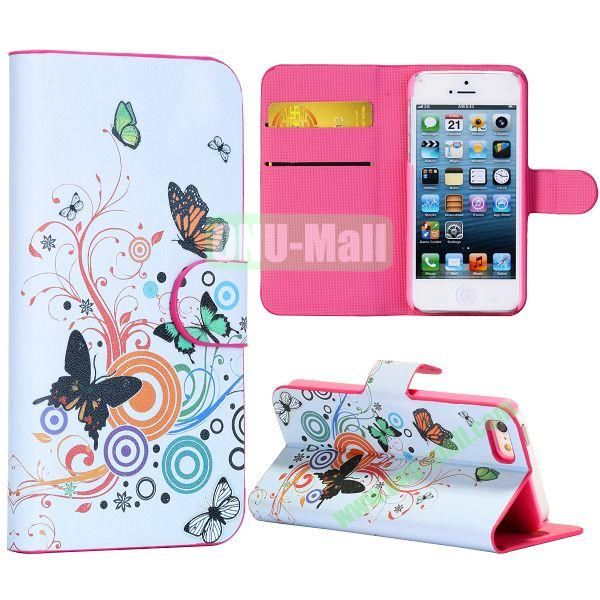 Butterfly and Swirl Tree Pattern Wallet Stand Side Flip Leather Case for iPhone 5 5S with Card Slot