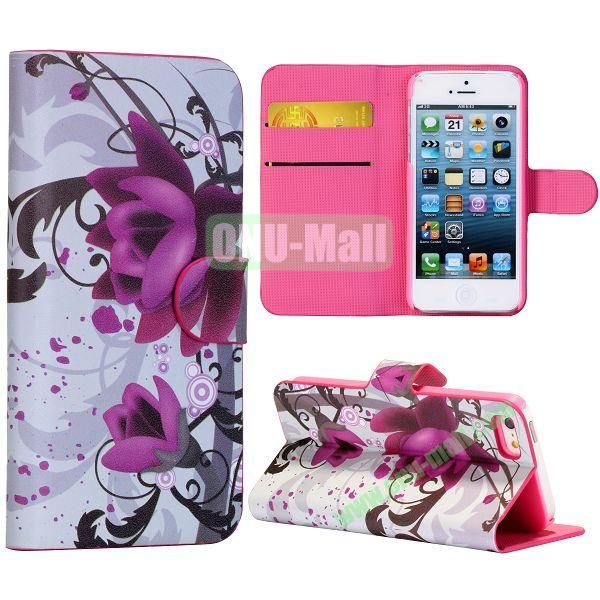 Kapok Flower Pattern Wallet Stand Side Flip Leather Case for iPhone 5 5S with Card Slot