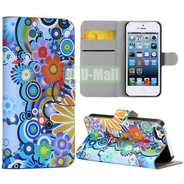 Rainbow Flower Circle Pattern Wallet Stand Side Flip Leather Case for iPhone 5 5S with Card Slot