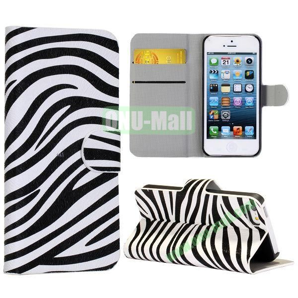 Zebra-Stripe Pattern Wallet Stand Side Flip Leather Case for iPhone 5 5S with Card Slot