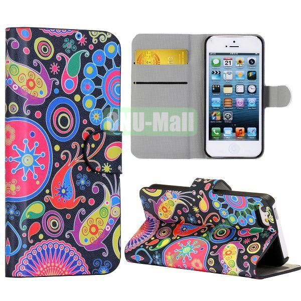 Colorful Fish Circle Pattern Wallet Stand Side Flip Leather Case for iPhone 5 5S with Card Slot