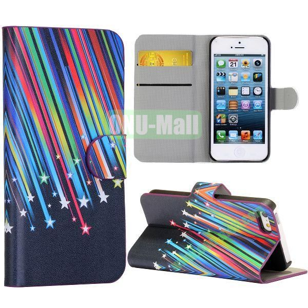 Metor Shower Pattern Wallet Stand Side Flip Leather Case for iPhone 5 5S with Card Slot