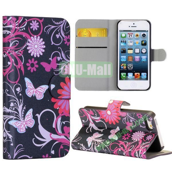 Butterfly and Flower Pattern Wallet Stand Side Flip Leather Case for iPhone 5 5S with Card Slot