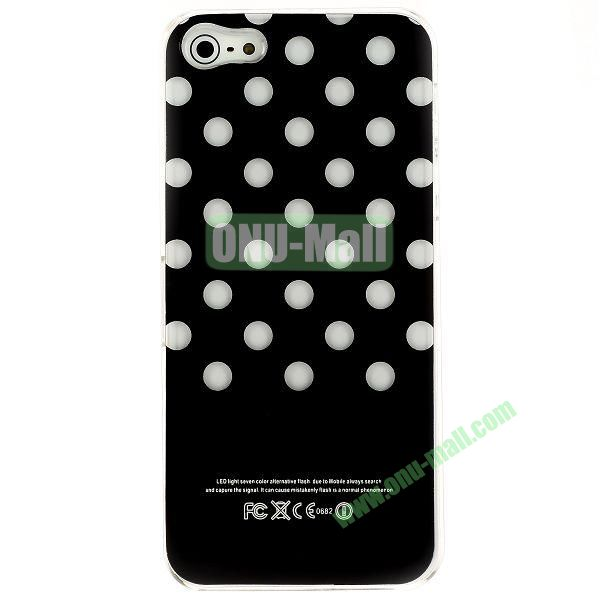LED Flash Lighting PC Hard Case for iPhone 55S (White Dots)