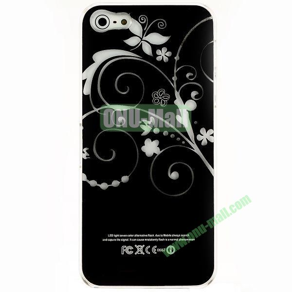 LED Flash Lighting PC Hard Case for iPhone 55S (Elegant Flower)