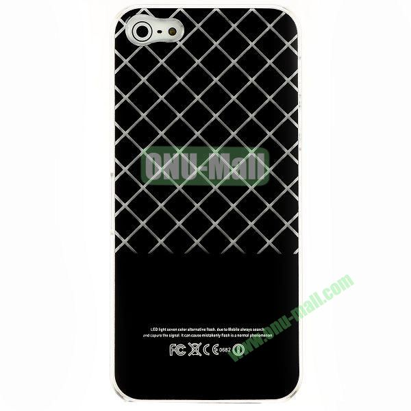 LED Flash Lighting PC Hard Case for iPhone 55S (Grid Pattern)