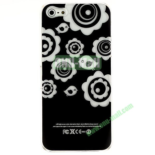 LED Flash Lighting PC Hard Case for iPhone 55S (Round Flower)