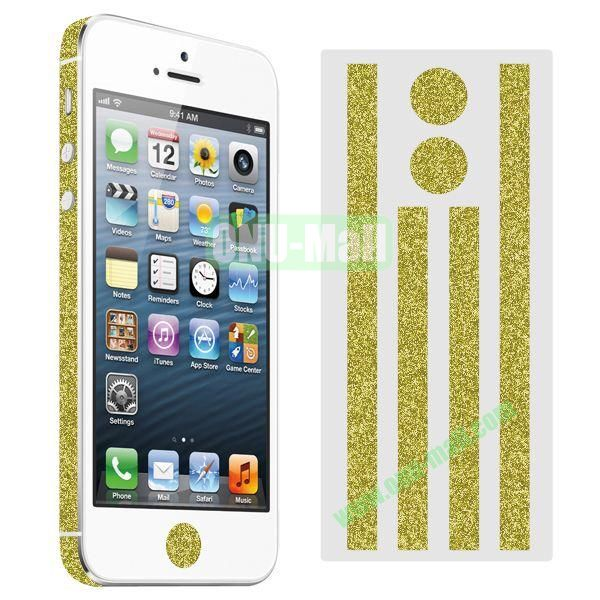 Glitter Powder Colorful Button and Lens Position Edge Sticker for iPhone 5 5S (Golden)