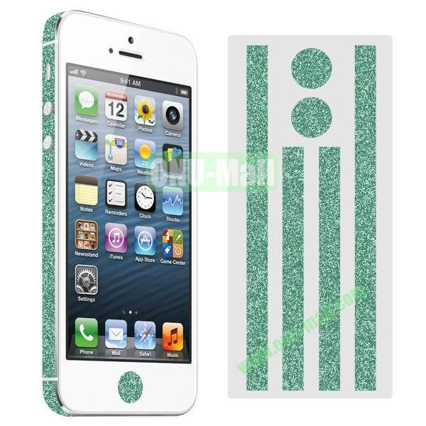 Glitter Powder Colorful Button and Lens Position Edge Sticker for iPhone 5 5S (Green)
