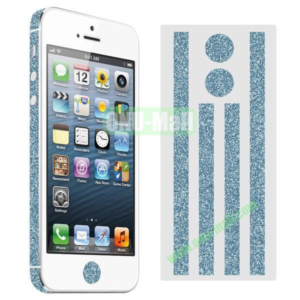 Glitter Powder Colorful Button and Lens Position Edge Sticker for iPhone 5 5S (Blue)