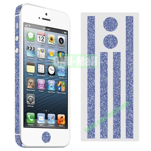 Glitter Powder Colorful Button and Lens Position Edge Sticker for iPhone 5 5S (Dark Blue)