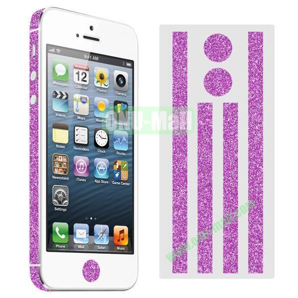 Glitter Powder Colorful Button and Lens Position Edge Sticker for iPhone 5 5S (Hot Pink)
