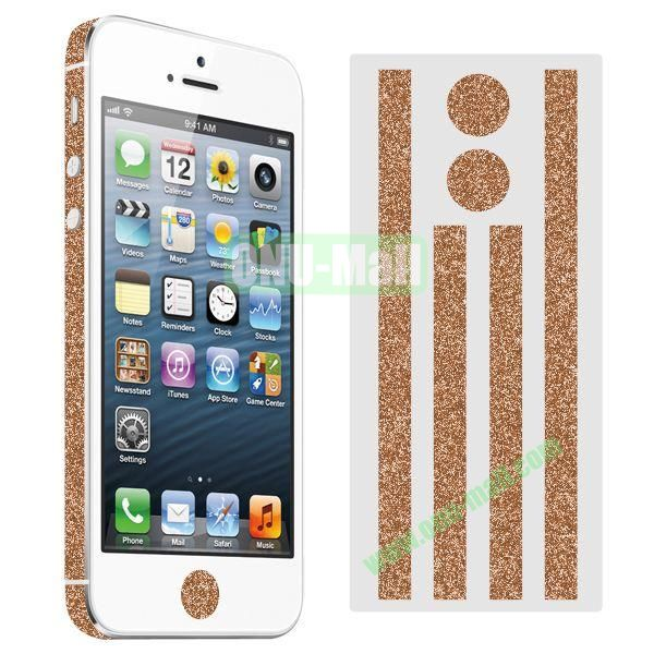 Glitter Powder Colorful Button and Lens Position Edge Sticker for iPhone 5 5S (Brown)