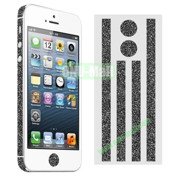 Glitter Powder Colorful Button and Lens Position Edge Sticker for iPhone 5 5S (Black)
