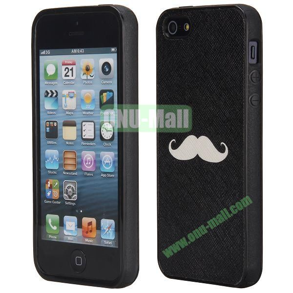 Newest Design Cross Texture Leather Coated TPU Back Case Cover for iPhone 5 5S (Beard)