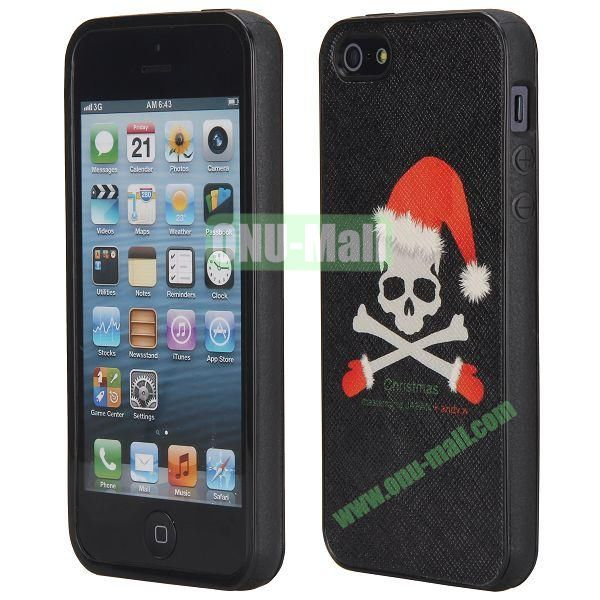Newest Design Cross Texture Leather Coated TPU Back Case Cover for iPhone 5 5S (Christmas Skull)