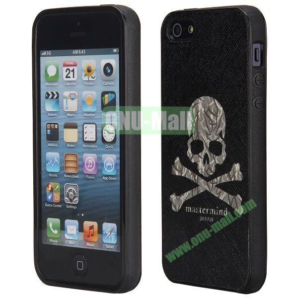 Newest Design Cross Texture Leather Coated TPU Back Case Cover for iPhone 5 5S (Skull)
