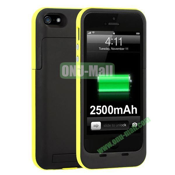 2500mAh Capacity Rechargeable External Battery Case for iPhone5S5 with Holder Support IOS 7 Systerm (Yellow)