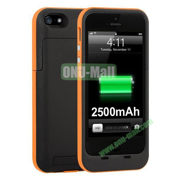 2500mAh Capacity Rechargeable External Battery Case for iPhone5S5 with Holder Support IOS 7 Systerm (Orange)