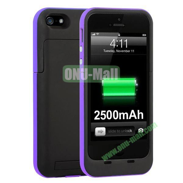 2500mAh Capacity Rechargeable External Battery Case for iPhone5S5 with Holder Support IOS 7 Systerm(Purple)