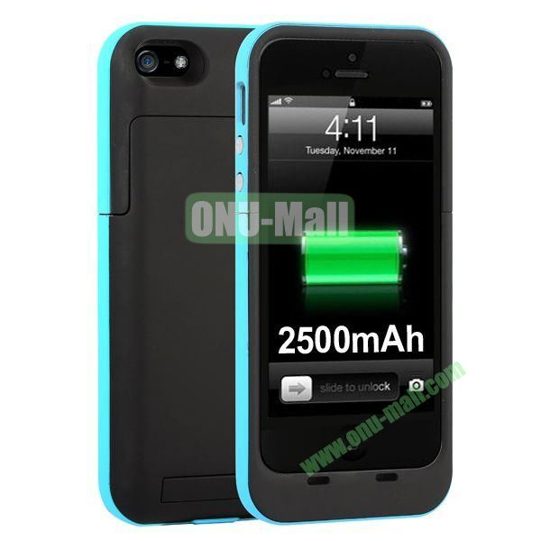 2500mAh Capacity Rechargeable External Battery Case for iPhone5S5 with Holder Support IOS 7 Systerm (Blue)