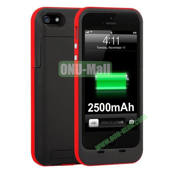 2500mAh Capacity Rechargeable External Battery Case for iPhone5S5 with Holder Support IOS 7 Systerm (Red)