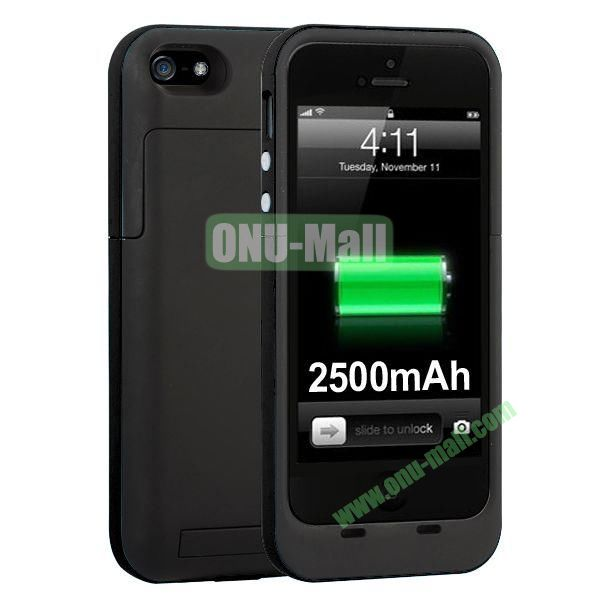 2500mAh Capacity Rechargeable External Battery Case for iPhone5S5 with Holder Support IOS 7 Systerm (Black)