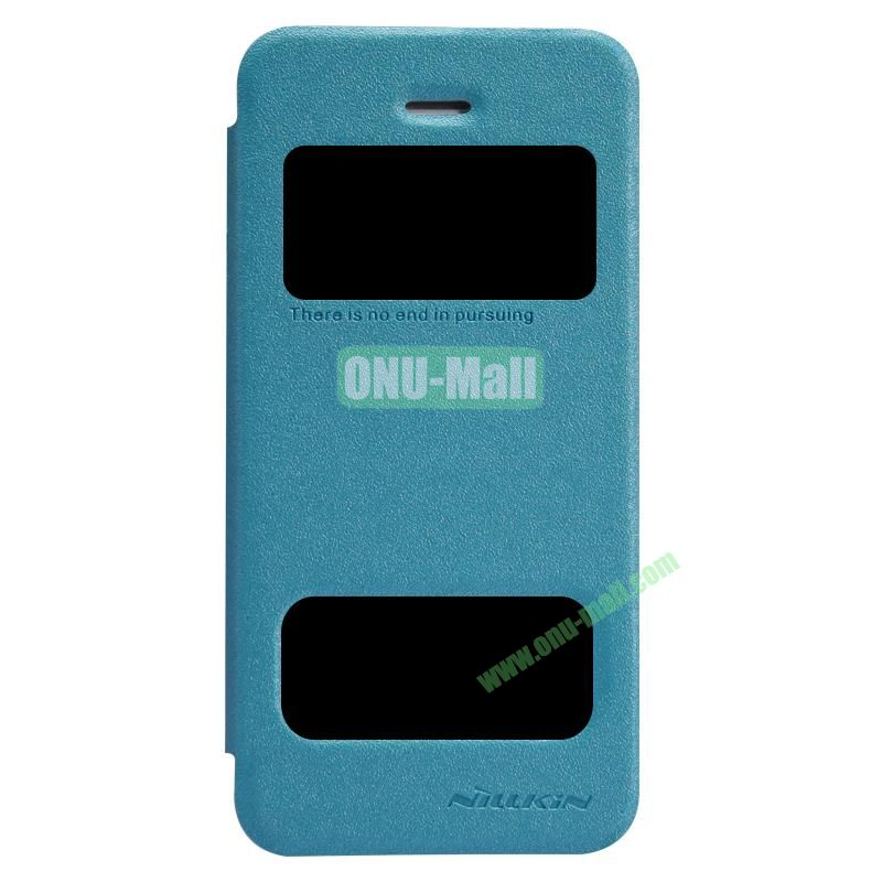 Nillkin Sparkle Shimmering Powder Flip Cover Leather Case for iPhone 55S with Call Display Window (Blue)
