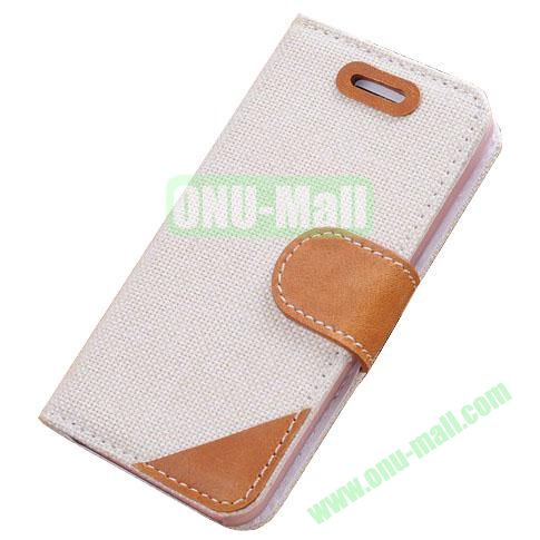 Cloth Wallet Case for iPhone 5S5 with Wallet and Holder  (White)