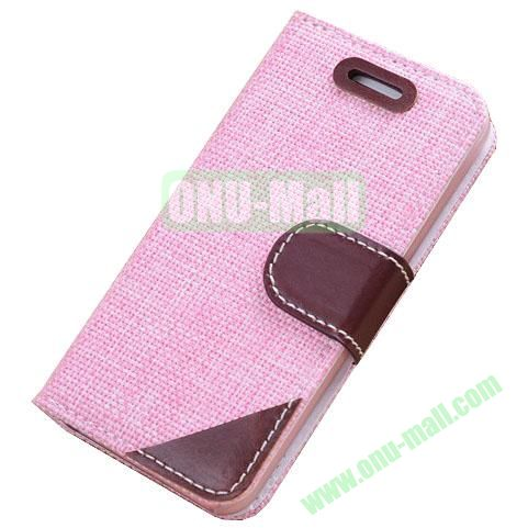Cloth Wallet Case for iPhone 5S5 with Wallet and Holder  (Pink)
