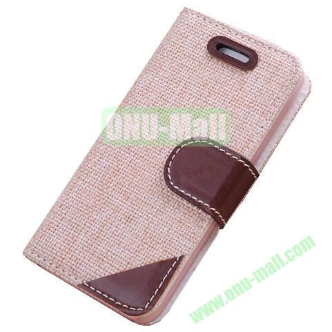 Cloth Wallet Case for iPhone 5S5 with Wallet and Holder  (Light Brown)