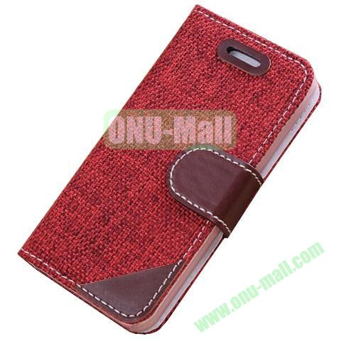 Cloth Wallet Case for iPhone 5S5 with Wallet and Holder  (Red)