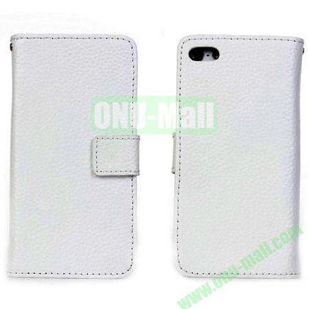 Litchi Texture Genuine Leather Case for iPhone 5C with Card Slots (White)