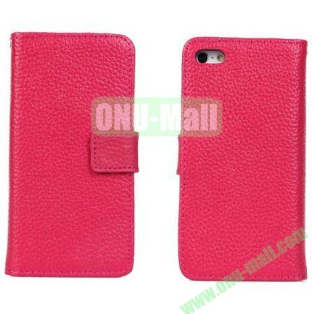 Litchi Texture Genuine Leather Case for iPhone 5C with Card Slots (Rose)