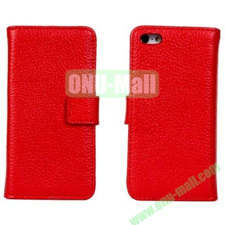 Litchi Texture Genuine Leather Case for iPhone 5C with Card Slots (Red)