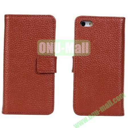 Litchi Texture Genuine Leather Case for iPhone 5C with Card Slots (Brown)
