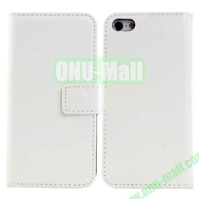 Crazy Horse Texture Leather Case with Card Slots and Holder for iPhone 5C (White)