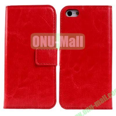 Crazy Horse Texture Leather Case with Card Slots and Holder for iPhone 5C (Red)