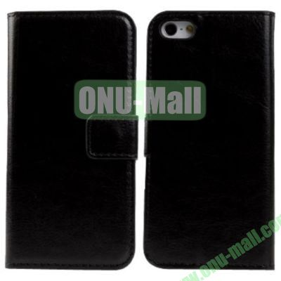 Crazy Horse Texture Leather Case with Card Slots and Holder for iPhone 5C (Black)