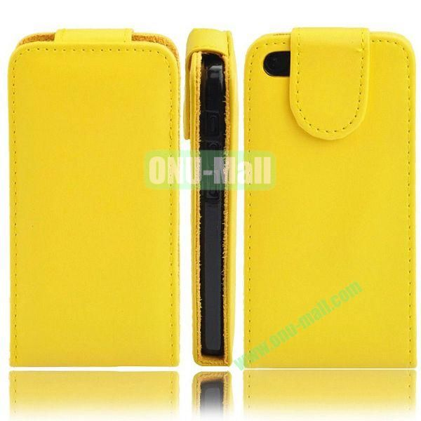 Wallet Style PU Material Vertical Flip Leather Case for iPhone 5C (Yellow)