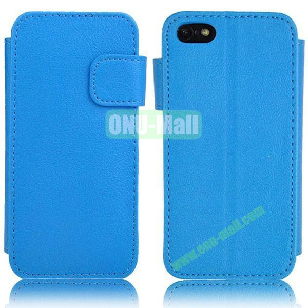 New Style Litchi Texture Leather Case with Card Slots and Holder for iPhone 5C (Blue)