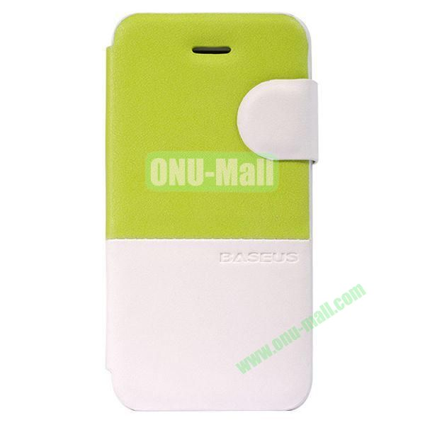Baseus Double Color  Leather Case for iPhone 5C (Green+White)