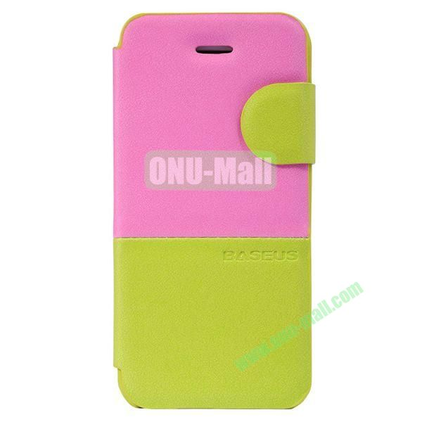 Baseus Double Color  Leather Case for iPhone 5C (Rose+Green)