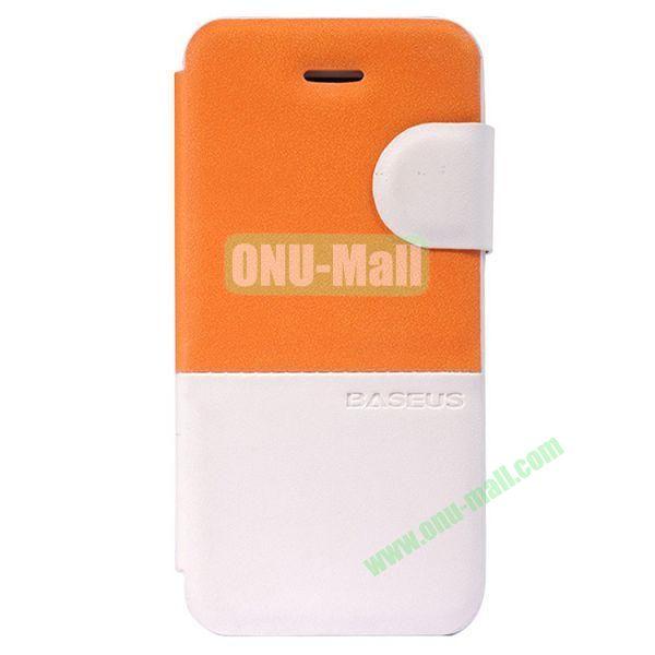 Baseus Double Color  Leather Case for iPhone 5C (Orange)