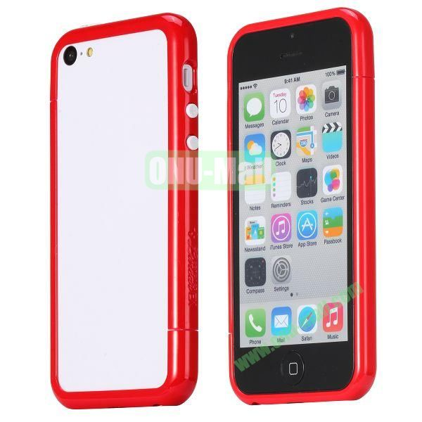 Glossy Plastic Detachable Bumper Frame Case for iPhone 5C (Red)
