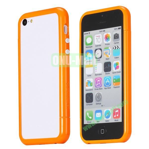 Glossy Plastic Detachable Bumper Frame Case for iPhone 5C (Orange)