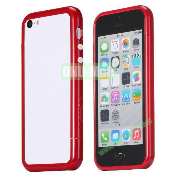 Glossy Plastic Detachable Bumper Frame Case for iPhone 5C (Dark Red)